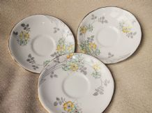 3 X VINTAGE GILDED SAUCERS ROYAL STAFFORD HANDPAINTED YELLOW GREEN DECO DAISY